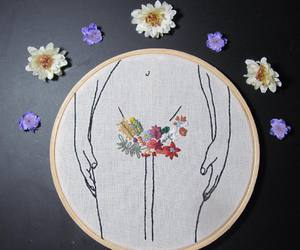 body, embroidery, and flowers image