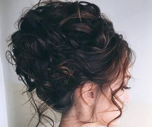 brown, bun, and hair style image