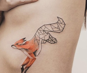fox, geometric, and tattoo image