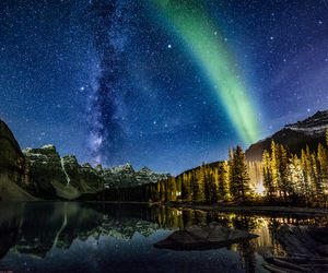 aurora borealis, canon, and milky way image