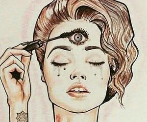 eye, girl, and mascara image