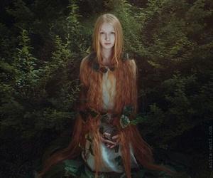 девушка, лес, and лиса image