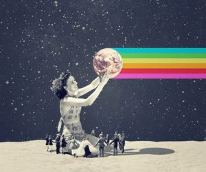 rainbow, moon, and colors image