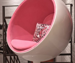 pink, chair, and white image