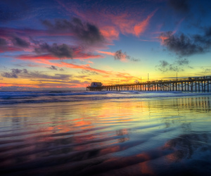 beach, sunset, and pier image