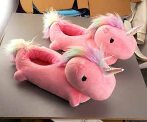 unicorn, pink, and slippers image
