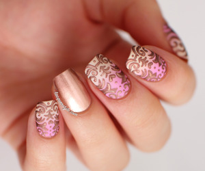 golden, nails, and pink image