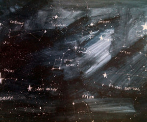 blackboard, chalk, and constellations image