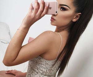 girl, makeup, and iphone image