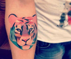 tattoo, tiger, and colors image