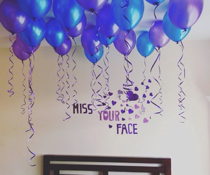 balloons, purple balloons, and gift image