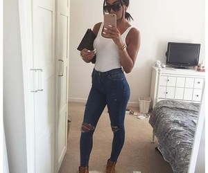 outfit, jeans, and nails image