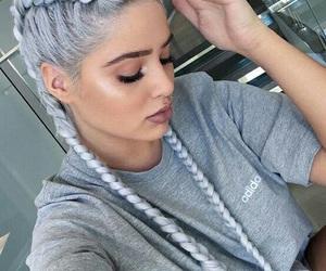 hair, braid, and adidas image