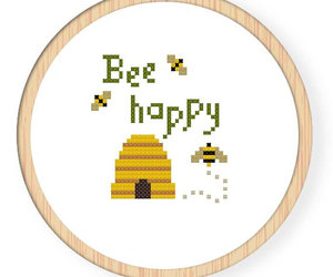 bee, cross stitch, and text image