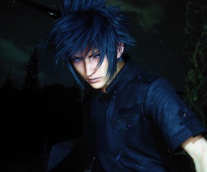 blue eyes, dark, and determined image