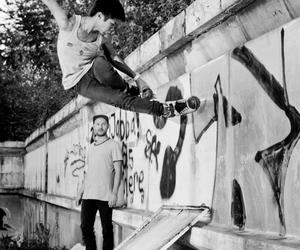 black and white, boy, and inline skating image