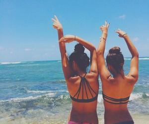 beach, besties, and bikini image