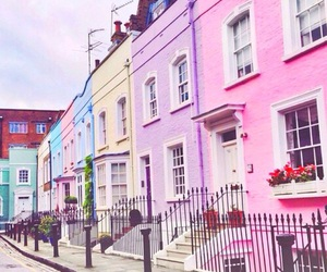 colors, house, and pink image