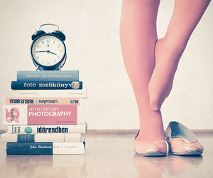 book, clock, and photography image