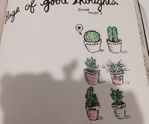 book, cacti, and drawing image