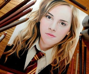 drawing, hermione granger, and harry potter image