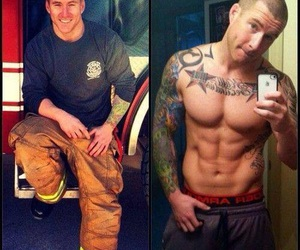 firefighter, fitness, and sexy image