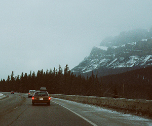 car, mountains, and vintage image