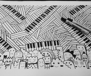 black, doodle, and piano image