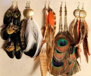 aztec, peacock, and earrings image