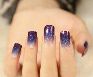 nails, purple, and galaxy image
