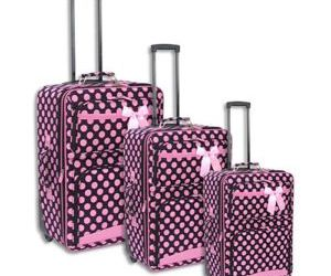 brown, pink, and suitcase image