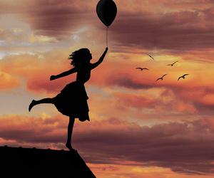 girl, bird, and sky image