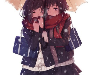anime, anime girl, and snow image