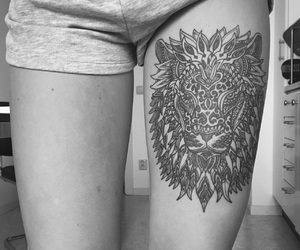 blackandwhite, lion, and mandala image