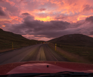 sunset, car, and road image