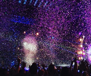 coldplay, concert, and confetti image