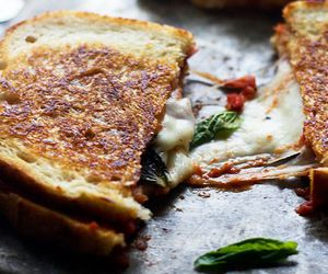 food, pizza, and grilled cheese image