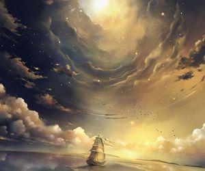 art, ship, and sky image