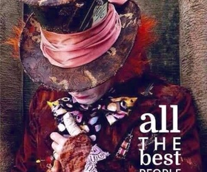 crazy, mad hatter, and alice in wonderland image