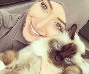 cat, girl, and beautiful image