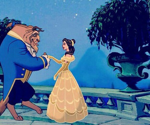 disney, belle, and beast image