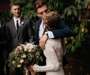 couple, kiss, and wedding image