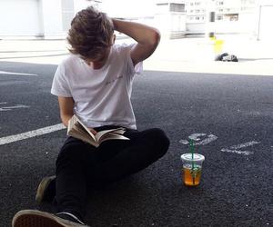 boy, book, and starbucks image