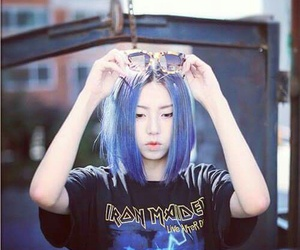 girl, asian, and blue image