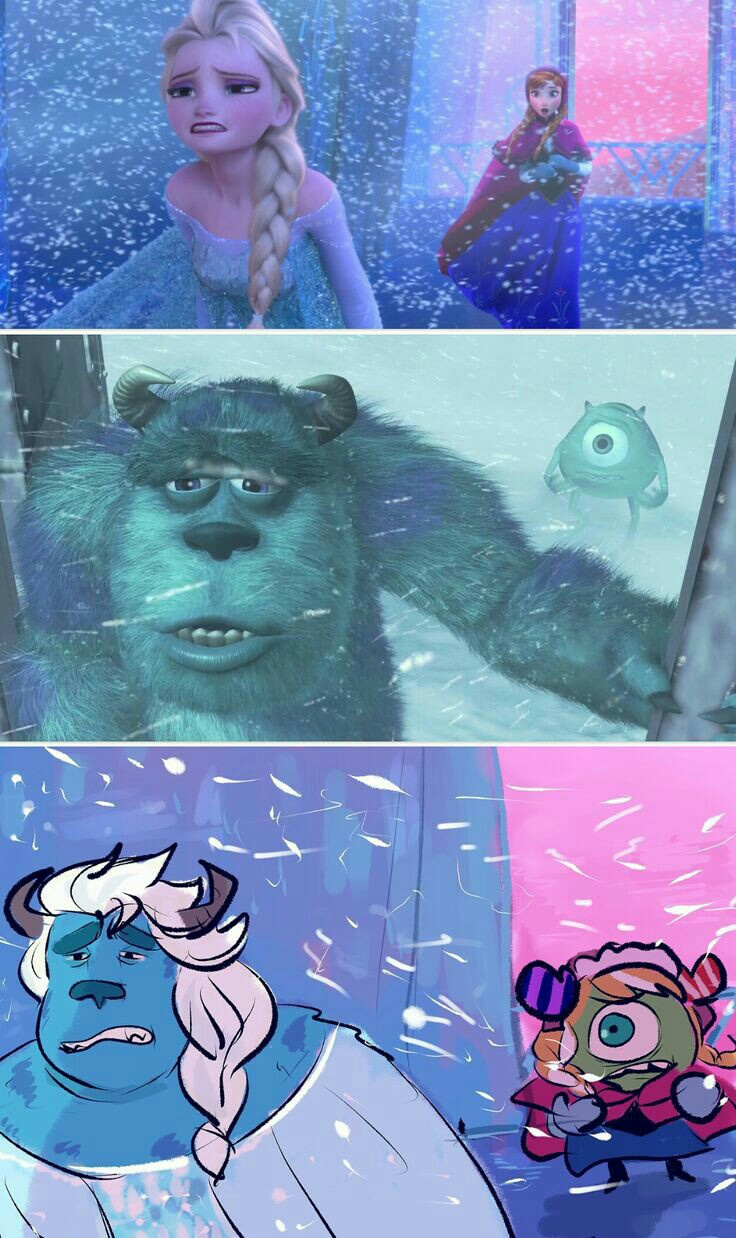 Frozen and monsters inc discovered by violet on we heart it voltagebd Images