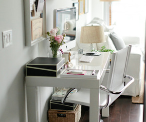 white, desk, and home image