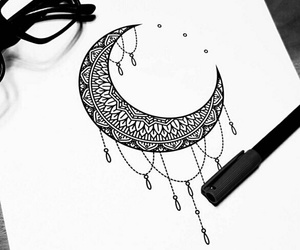 drawing, moon, and black image