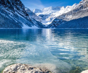 mountains, snow, and water image