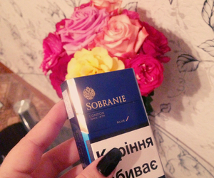 black nails, sobranie, and cigarette image