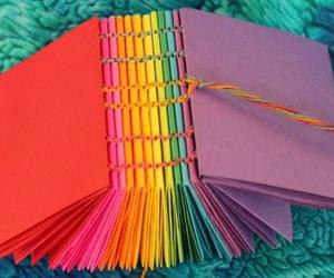 sewn together, diy bookbinding, and origami pamphlets image